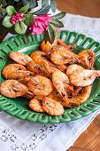 Plate Of Fresh Cooked Prawns