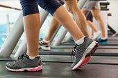 stock photo of treadmill  - Row of people working out on treadmills at the gym - JPG
