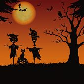 picture of scarecrow  - Halloween cartoon landscape with the moon pumpkin Jack - JPG