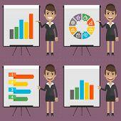 Infographics businesswoman indicates on flipchart