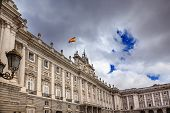 Royal Palace Clouds Sky Cityscape Spanish Flag Madrid Spain