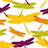 Seamless pattern with hand drawn silhouette dragonflies