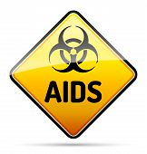 Aids Hiv Biohazard Virus Danger Sign With Reflect And Shadow On White Background.