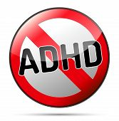 Adhd - Attention Deficit Hyperactivity Disorder - Isolated Sign With Reflection And Shadow