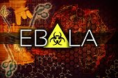 stock photo of hemorrhage  - Ebola virus illustration with a map and microscope - JPG