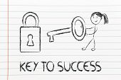 Find The Key To Success, Funny Girl Character Being Successful