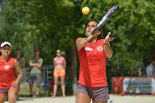 MOSCOW, RUSSIA - JULY 19, 2014: Lady Correa of Venezuela in the match against Russia during ITF Beach Tennis World Team Championship. Russia won 2-1