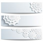 Постер, плакат: Set Of Beautiful Banners With 3D Chrysanthemum