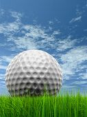 Green, fresh and natural 3d conceptual grass over a blue sky background with a golf ball at horizon