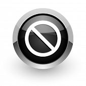 access denied black chrome glossy web icon