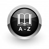 dictionary black chrome glossy web icon