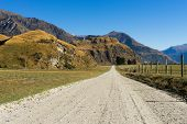 Natural landscape of New Zealand alps and road