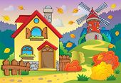Autumn theme house and windmill - eps10 vector illustration.