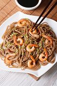 Buckwheat Soba Noodles With Shrimp Close-up. Vertical Top View