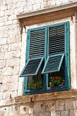 Window With Red Flowers