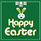 Happy easter cards illustration with Easter eggs, Easter bunny,