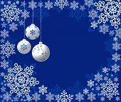 Christmas vector illustration with bulbs and snowflakes