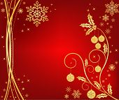 Christmas background in god and red, vector
