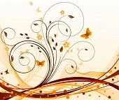 Autumn abstract vector floral background