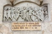picture of crucifixion  - Detail of crucifixion statue on St Emmeram Abbey or Basilica in Regensburg Bavaria Germany - JPG