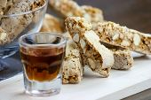 picture of biscuits  - Cantucci a tipical tuscan biscuits on a wooden table - JPG