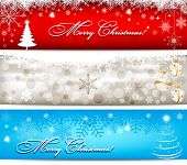 Christmas banner with snowflakes set