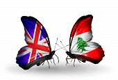 Two Butterflies With Flags On Wings As Symbol Of Relations Uk And Lebanon