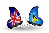 Two Butterflies With Flags On Wings As Symbol Of Relations Uk And Saint Lucia