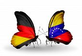 Two Butterflies With Flags On Wings As Symbol Of Relations Germany And Venezuela