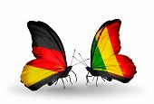 Two Butterflies With Flags On Wings As Symbol Of Relations Germany And Mali