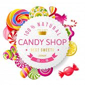 stock photo of lolli  - Paper candy shop label with type design and nuts - JPG
