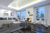 3D Rendering of Large spacious modern living room with a fire burning in the hearth, recessed lighting, a hardwood parquet floor and comfortable white lounge furniture facing large windows