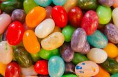 picture of jelly beans  - A close up view of jelly beans in a candy bowl - JPG