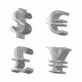Silver Currencies Symbols Pencil Style