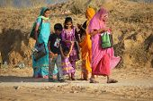 Indian Family Walking For Going To Pushkar Fair,