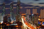 Fiber beautiful city at night in South Korea.