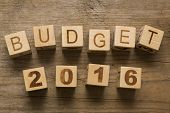 Budget for 2016, wooden blocks on a wooden background