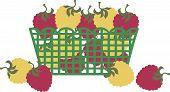 Red gold raspberries market grocery fruit basket
