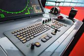 Modern Ship Control Panel With Radar Screen