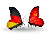 Two Butterflies With Flags On Wings As Symbol Of Relations Germany And Soviet Union