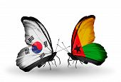 Two Butterflies With Flags On Wings As Symbol Of Relations South Korea And Guinea Bissau