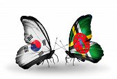 Two Butterflies With Flags On Wings As Symbol Of Relations South Korea And Dominica