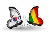 Two Butterflies With Flags On Wings As Symbol Of Relations South Korea And Mali
