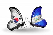 Two Butterflies With Flags On Wings As Symbol Of Relations South Korea And Nicaragua