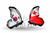 Two Butterflies With Flags On Wings As Symbol Of Relations South Korea And Tonga