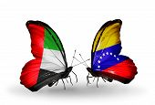 Two Butterflies With Flags On Wings As Symbol Of Relations Uae And Venezuela