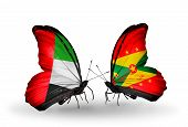 Two Butterflies With Flags On Wings As Symbol Of Relations Uae And Grenada