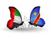 Two Butterflies With Flags On Wings As Symbol Of Relations Uae And Kongo