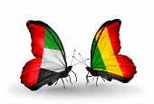 Two Butterflies With Flags On Wings As Symbol Of Relations Uae And Mali