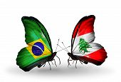 Two Butterflies With Flags On Wings As Symbol Of Relations Brazil And Lebanon